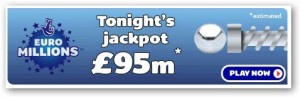 92 million pound jackpot tonight on Euro Lottery.