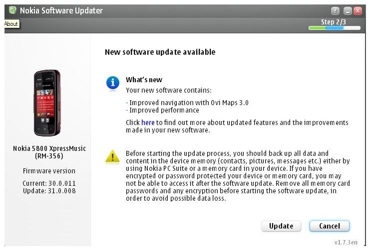 New firmware update for Nokia 5800XM 31.0.008