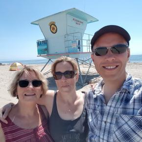 Photo in front of lifeguard tower